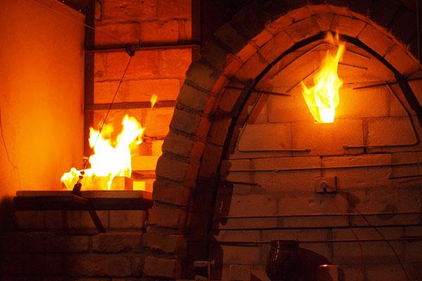 Holzbrandofen bei der Schlussreduktion