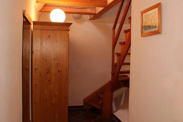 Treppenaufgang der Ferienwohnung