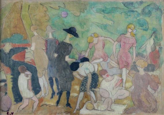 Adjugé 17 690 € - VALTAT Louis, Jeux d'enfants au Bois de Boulogne, huile sur papier, 38 x 55 cm
