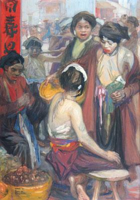 Adjugé 14 740 € - FOUQUERAY Charles Dominique, Scène de marché, Hanoi, 1921,  gouache, 116 x 81 cm