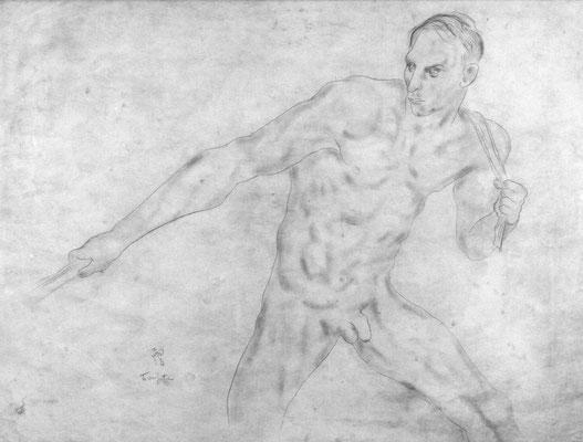 Adjugé 17 510 € - FOUJITA Leonard Tsuguharu, Le haleur, circa 1928, crayon, 71 x 95 cm
