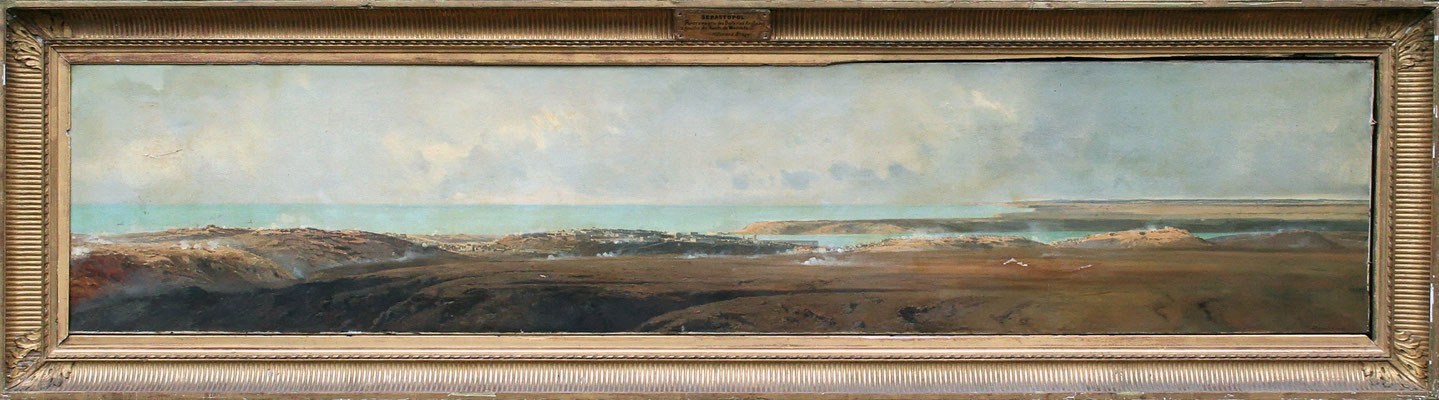 Adjugé 47 865 € - DURAND-BRAGER Jean-Baptiste, Sébastopol, panorama pris des batteries anglaises, 1857, huile sur toile, 57 x 270 cm