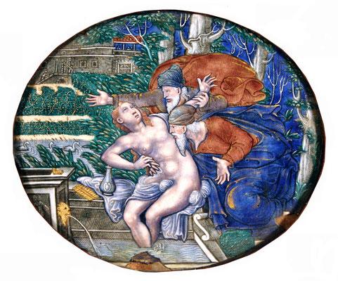 Adjugé 19 615 € - PLAQUE en émail de LIMOGES figurant Suzanne et les Vieillards, 17 x 21 cm