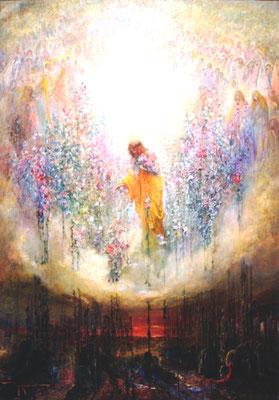 Adjugé 16 755 € - MARCIUS-SIMONS Pinkney, Allégorie religieuse, huile sur toile, 112 x 80 cm