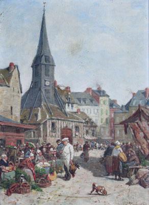 Adjugé 21 820 € - DUBOURG Alexandre, Scène de marché à Honfleur, huile sur toile, 54 x 35 cm