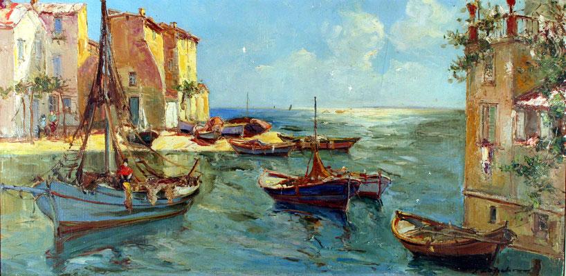 Adjugé 18 490 € - LAPCHINE Georges, Port méditerranéen (Les Martigues ?), huile sur toile, 50 x 100 cm