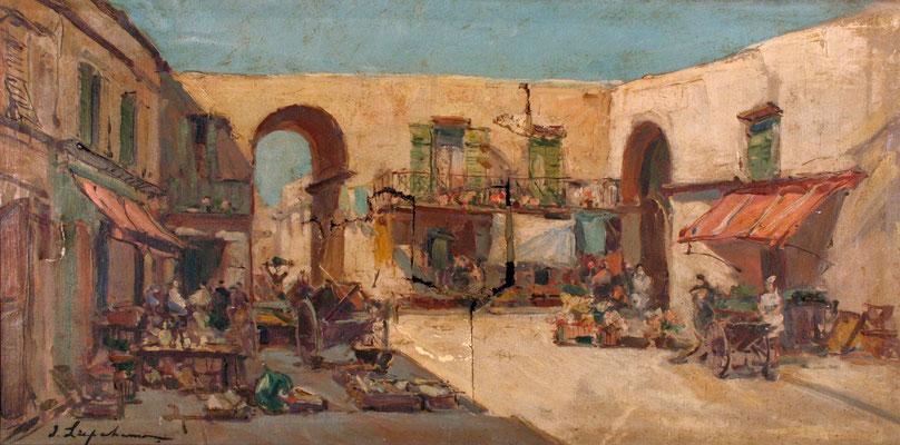 Adjugé  17 330 € - LAPCHINE Georges, Marché dans une ville méridionnale, huile sur toile, 40 x 80 cm