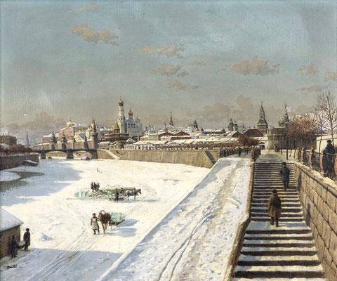 Adjugé 43 780 € - BESSONOFF Boris, Moscou sous la neige, huile sur toile, 47 x 55 cm