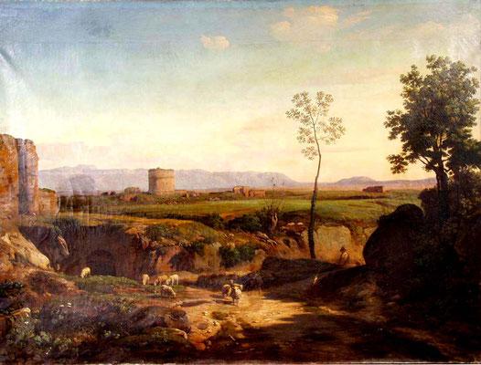 Adjugé 41 600 € - PRIEUR Romain Etienne Gabriel, Berger et son troupeau dans la campagne romaine, 1845, huile sur toile, 147 x 196 cm