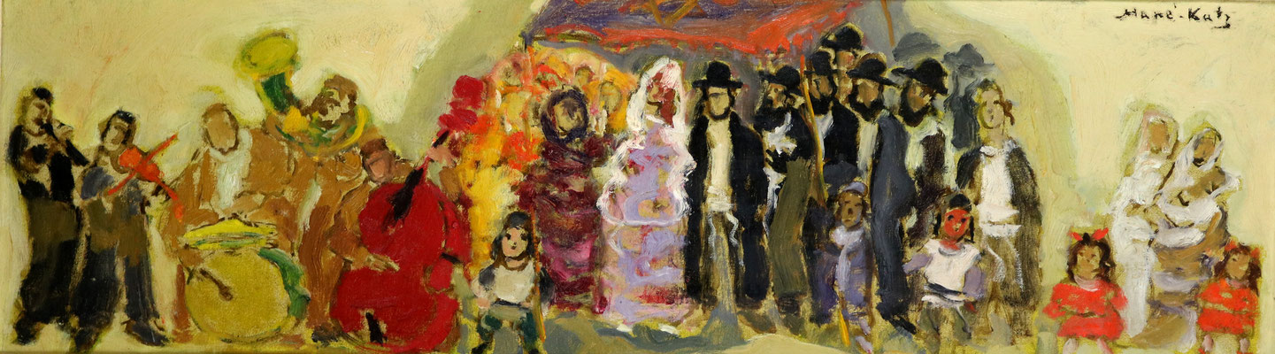 Adjugé 29 790 € - MANE-KATZ, Noces juives, huile sur toile, 31 x 95 cm