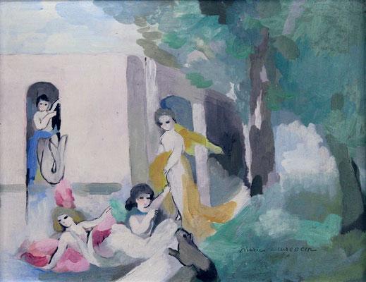 Adjugé 21 230 € - LAURENCIN Marie, Scène animée, huile sur panneau, 26 x 35 cm
