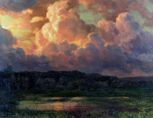 Adjugé 37 360 € - CHOULTSE Ivan Federovitch, Crépuscule sur l'étang, 1921, huile sur toile, 45 x 59 cm
