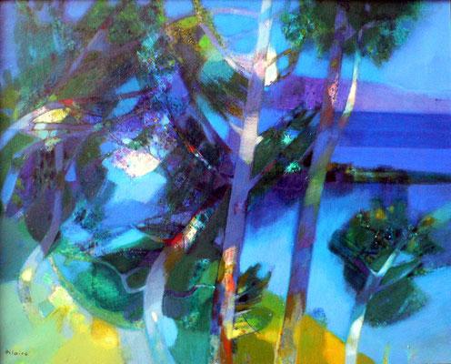 Adjugé 12 840 € - HILAIRE Camille, Paysage bleu (Au Mont Boron), 1973, huile sur toile, 73 x 92 cm