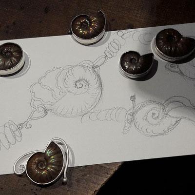 Meine Entwürfe für die Ammonitketten