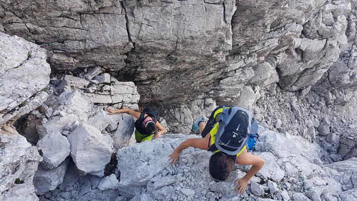 leichte Kletterei Richtung Hetzaugraben