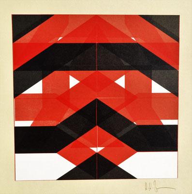 H. H. Zimmermann, Titel: Schwarz - Rot, 1986, Buchdruck, 30 x 30 cm