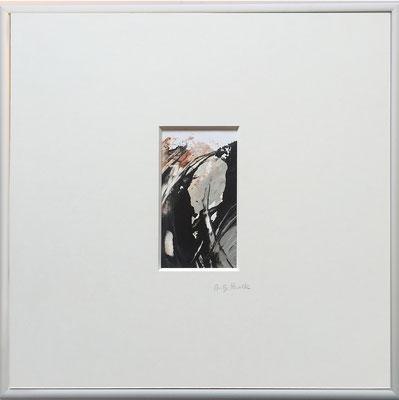 Antje Paselk, Titel: Silbergefühle 2, 2016, Acryl auf Papier, 40 x 40 cm (mit Rahmen)