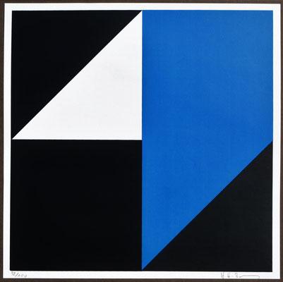 H. H. Zimmermann, Titel: Räumliche Faltung, 1979, Siebdruck, 30 x 30 cm