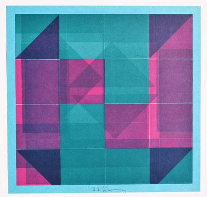 H. H. Zimmermann, Titel: Variationen der Schichtung, Buchdruck, 1984, 30 x 30 cm