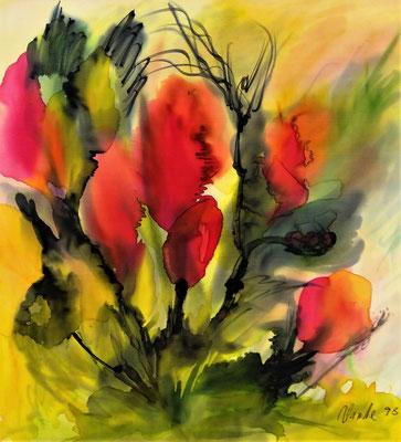 Hanne Ness  Titel: Mohnblumen Technik: Malerei auf Seide Jahr: 1998 Format: 60 cm x 58 cm