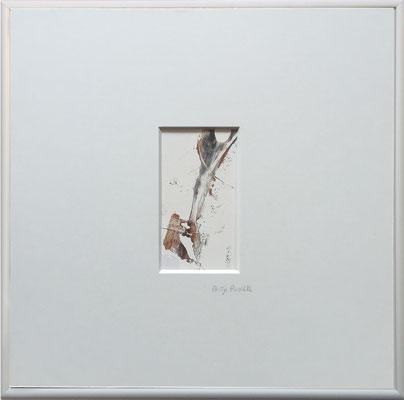 Antje Paselk, Titel: Silbergefühle 1, 2016, Acryl auf Papier, 40 x 40 cm (mit Rahmen)