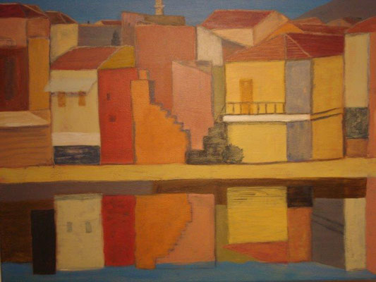 Ursula Kühn, Titel: Abend auf Kreta, 2011, Acryl auf Leinwand, 54 x 64 cm (mit Rahmen)
