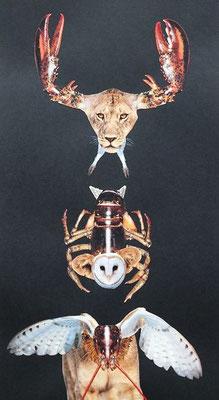 Ines Krupp, Titel: Variationen I, 2013, Fotocollage und Gouache, 70 x 40 cm (mit Rahmen)