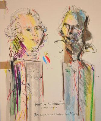 Martin Lersch, Titel: verloren die köpfe, 2011, Mischtechnik auf Papier, 60 x 50 cm