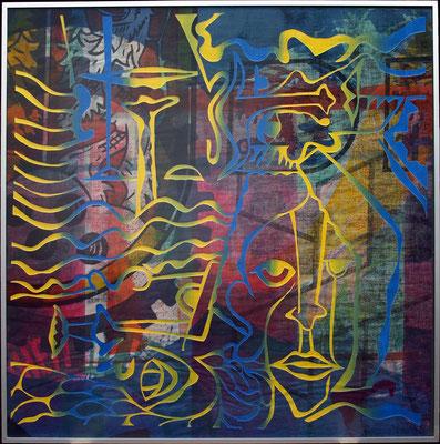 Reinhold Lutter, Titel: Portraitquartett No. 4, Serie No. 1 bis 5, 1989 Siebdruck auf Baumwollläufer, 80 x 80 cm
