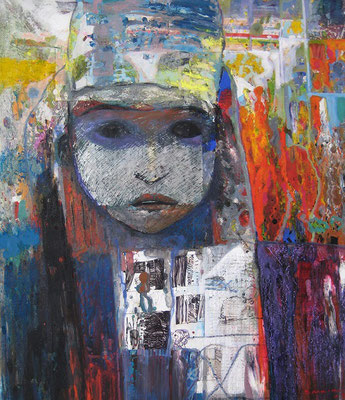 Joesph Bakir, Titel: 1-Augen, 2008, Mischtechnik, 50 x 44 cm