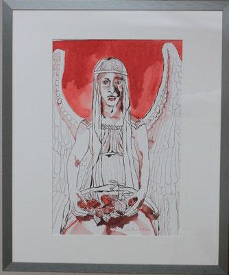 Susanne Haun, Titel: Roter Engel mit Rosen, 2011, Zeichnung mit Feder, Pinsel und Tusche, 60 x 50 cm