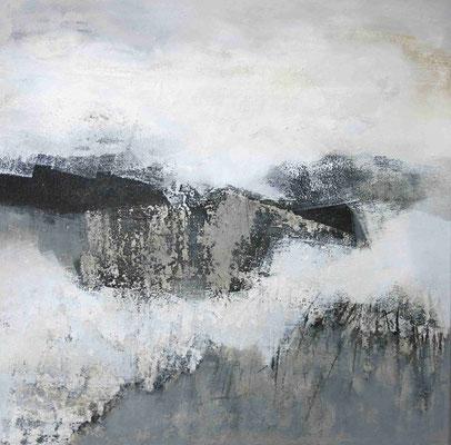 Renate Migas, Titel: Zeitlose Stille, 2015, Acryl-Mischtechnik auf Leinwand, 70 x 70 cm