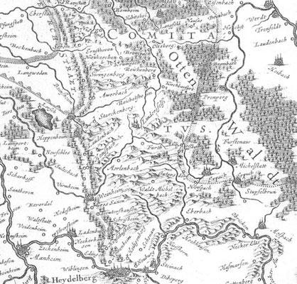 Der Otten Waldt auf einer historischen Landkarte.