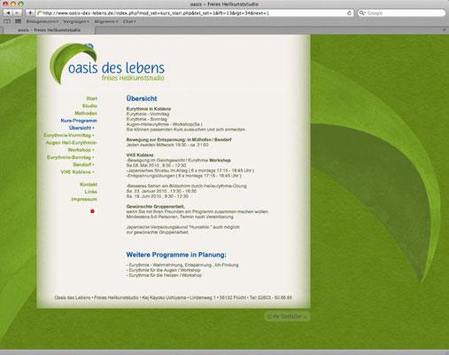 Webdesign, Kursprogramm, Inhalte über ein eigenes CMS editierbar