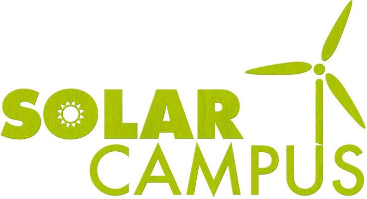 """Logo """"Solar Campus"""" mit Papier-Struktur"""
