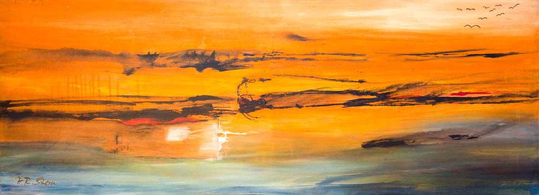 """#635, """"Anflug in eine neue Zukunft"""", 2007, 100x270cm, Acryl auf Leinwand, 4.250,-€"""