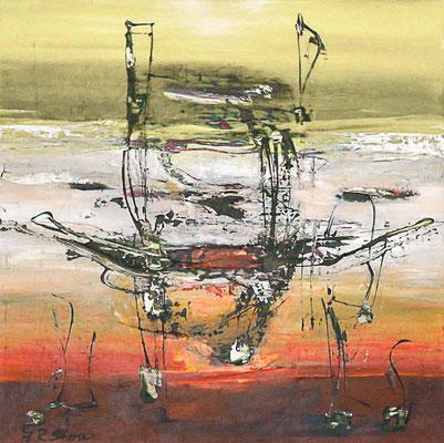 "#1013, ""Tiefblickend"", 2014, 100x100cm, Acryl auf Leinwand, 2.250,-€"