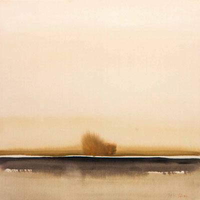 """#745, """"Wo wenig mehr ist"""", 2010, 80x80cm, Acryl auf Naturleinwand, 1.950,-€"""