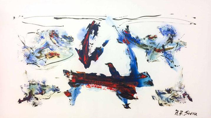 """#772, """"Vergnügliche Welten"""", 2013, 110x185cm, Acryl/Aqualack auf Leinwand, 3.650,-€"""