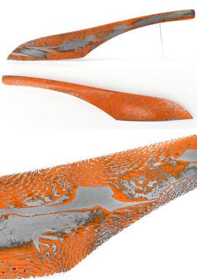 Messer aus farbigem Damaszenerstahl