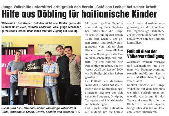 """""""Hilfe aus Döbling für haitianische Kinder"""" - Wiener Bezirksblatt - Oktober 2011"""