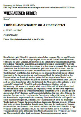 """""""Fußball-Botschafter im Armenviertel"""" - Wiesbadener Kurier - Februar 2012"""