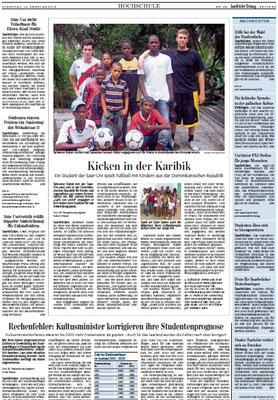 """""""Kicken in der Karibik"""" - Saarbrücker Zeitung - Februar 2012"""