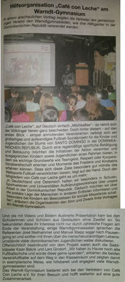"""Hilfsorganisation ""Café con Leche"" am Warndt-Gymnasium"" - Wadgasser Rundschau - November 2013"