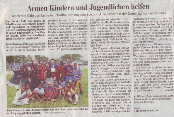 """""""Armen Kindern und Jugendlichen helfen"""" - Saarbrücker Zeitung - September 2011"""