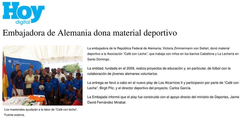 """Embajadora de Alemania dona material deportivo"" - Hoy - März 2014"