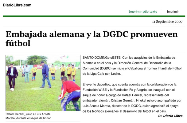 """""""Embajada alemana y la DGDC..."""" - Diario Libre - September 2007"""