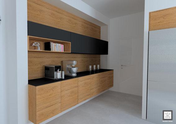 Rendu 3d d'une cuisine noir et bois, étude du projet agence En Toile de Fond Décoration