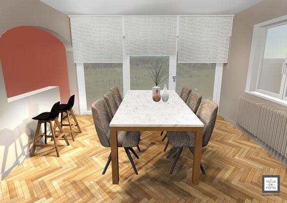 Rendu 3D de la salle à manger, table Calligaris
