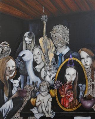 menschen die mutter sagen IV . 2012 . 100x80 . oil on canvas